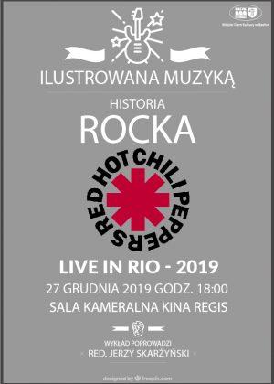 "Plakat "" Ilustrowana muzyką historia rocka, Red Hot Chili Peppers"""