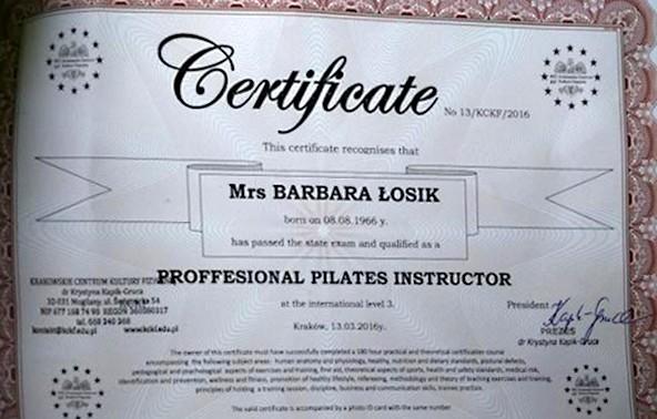 Certyfikat Barbary Łosik