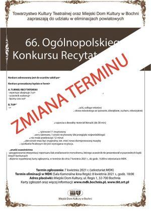Plakat informujący o zmianie terminu konkursu recytatorskiego