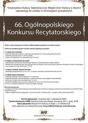 Plakat informujący o 66. ogólnopolskim konkursie recytatorskim