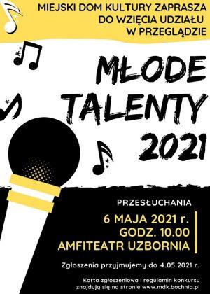 Plakat informujący o przeglądzie Młode Talenty 2021
