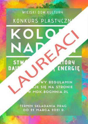 Kolorowy plakat z białym napisem kolory nadziei laureaci konkursu