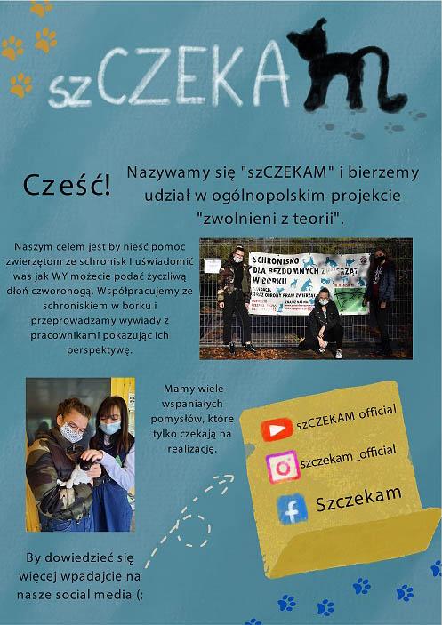 Plakat informujący o projekcie Szczekam realizowanym przez Uczennice z 1 LO