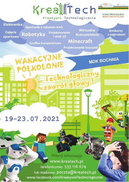 Plakat informujący o półkoloni kreatech w dniach 19-23.07.21 r.