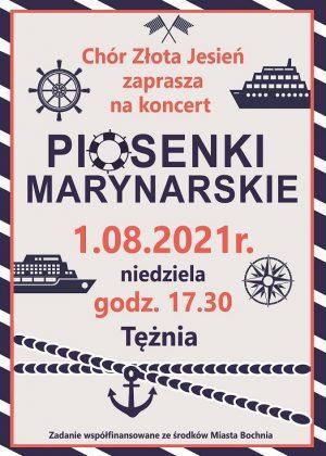 Plakat informujący o koncercie chóru złota jesień, który odbędzie się w tężni 1,08,2021 o godz. 16.30