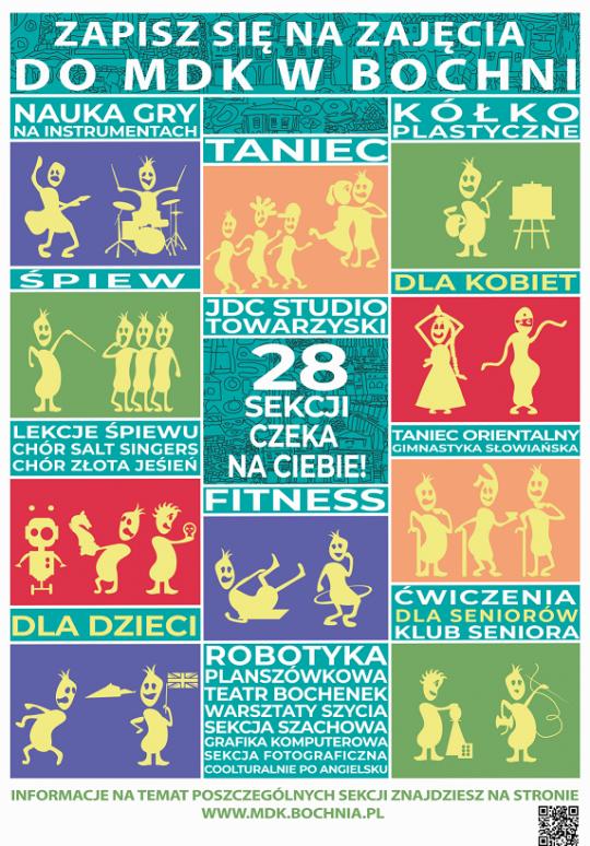 Plakat prezentujący sekcje w MDK